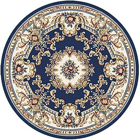 Moda stile europeo soggiorno il tappeto di Palazzo rotondo Tappeto rotondo , 6596b navy blue , diameter 200cm - Navy Blue Slittamento