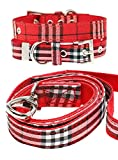 UrbanPup Hundehalsband und Hundeleine, Stoff, Schottenkaro, rot, Set