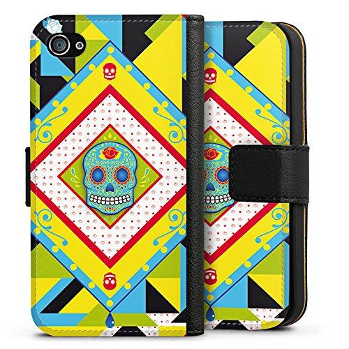 Apple iPhone X Silikon Hülle Case Schutzhülle Totenkopf Buntes Maya Muster Sideflip Tasche schwarz