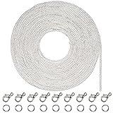33 Pies de Collar de Cadena Chapado de Plata con 30 Anillas Abiertas y 20 Broches de Langosta para Fabricación de Bisutería (1,5 mm)