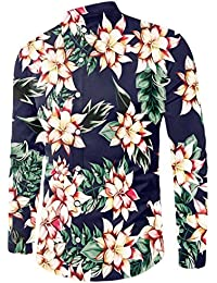 Chicolife Uomo T Shirt Hawaiian Style Camicetta da Floral Slim Fit Manica Lunga Casual Button Down Tee Shirts