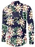 Chicolife Uomo Navy Blue Floral Design Slim Fit Lungo Manica Vacanza Hawaiana Camicia Button Down Fiore Vestito