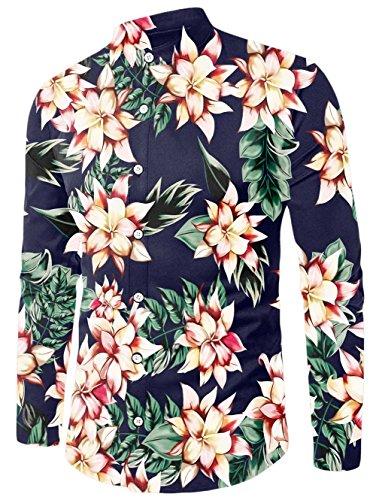 Chicolife uomo navy blu floreale stampa slim fit lungo manica casual hawaiano camicia button down fiore vestito