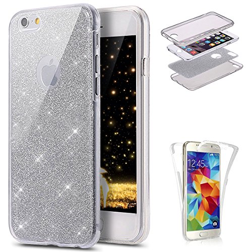 Ukayfe Custodia iPhone 6S Plus Cover iPhone 6 Plus, 360 Grad Custodia per iPhone 6/6S Plus UltraSlim di Colorato Brillantini Bling Glitter Polveri Disegni Copertura Cover Case Protettiva-Argento