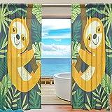 yibaihe Fenster Vorhänge, Gardinen Platten Fenster Behandlung Set Voile Drapes Tüll Vorhänge Faultier auf Ast Muster 198,1cm lang für Wohnzimmer Schlafzimmer Girl 's Room 2Platten, Textil, multi, 55