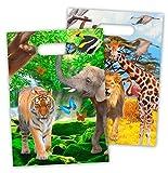 8 Partytüten * SAFARI & WILDE TIERE * für Party und Geburtstag von FOLAT // 62004 // Kindergeburtstag Set Mitgebsel Geschenktüten Tüten Dschungel Löwe Affe Zebra Giraffe