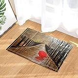 Cdhbh Nature Scenery Décor Parapluie Rouge sur pont en bois avec fer à repasser Railing Tapis de bain antidérapant Paillasson Tapis de réception Intérieur Porte avant de sol enfants Tapis de bain 15,7x de Accessoires de salle de bain