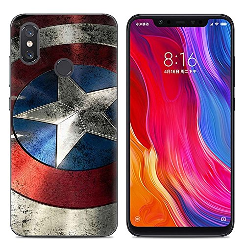 Aksuo Funda For Xiaomi Mi 8 , TPU Anti-Rasguño Anti-Golpes Cover Protectora Transparente Claro TPU Caso Bumper Slim Silicona Case - Capitán America