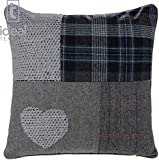 "Ideal Textiles, Patchwork Cushion Cover, Chenille, Blue/Grey Cushion Covers, 18"" x 18"", 45cm x 45cm"