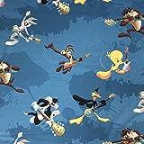 Lizenzierte Looney Tunes Show türkis Neuheit Premium Grade 100% Baumwolle feines Gewebe Kinder Vorhang Betten Stoff 140cm breit, Meterware,