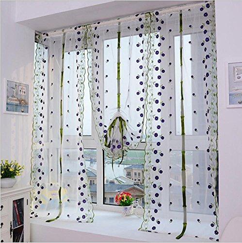 roman cortinas cafe estilo corto tul telas sheer panel moderno cortinas para cocina flor ventana