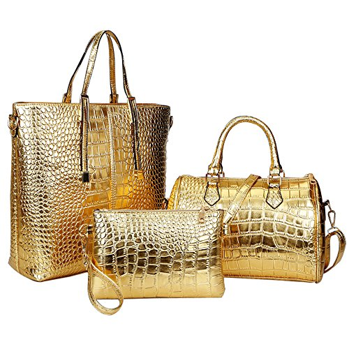 goodpro-women-handbag-women-bag-crocodile-pu-leather-3-pcs-tote-handbag-purse-set-gp102-gold