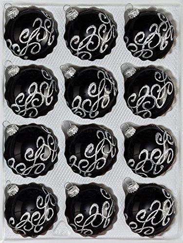 """12 tlg. Glas-Weihnachtskugeln Set in """"Hochglanz-Schwarz-Silberne-Ornamente-Gothic – Neuheit -"""" Christbaumkugeln – Weihnachtsschmuck-Christbaumschmuck"""