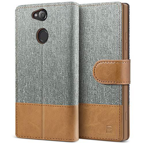 BEZ Handyhülle für Sony Xperia XA2 Hülle, Tasche Kompatibel für Sony Xperia XA2, Schutzhüllen aus Klappetui mit Kreditkartenhaltern, Ständer, Magnetverschluss, Grau