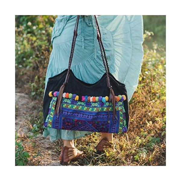 Changnoi Purple Diamond Tote Bag with Hmong Embroidered, Pom Pom bag Beach Bag for Women, Bohemian Bag, Boho Shoulder Bag - handmade-bags