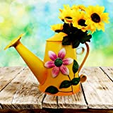 [Grade B Clearance!] Decorative Metal Watering Cans - Indoor Home Decor Ornament Gift Idea for Windowsill, Shelf (Yellow)