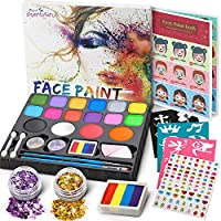 Jojoin Face Paint Set for Kids, 16 Color Face Painting Palette with 4 Large Base Color, Rainbow Cake, 94 Gems, 18 Stencils, Non-Toxic - Hypoallergenic - Water Based - Halloween Carnival Makeup Kit
