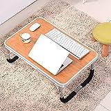 PENGFEI Laptop Betttablett Tragbare Stehpult Faul Tabelle Multifunktion Holzplatten Handy, Mobiltelefon Faltbar Studentenwohnheim Lesen 2 Farben 71x48x29cm (Farbe : Bamboo Color)