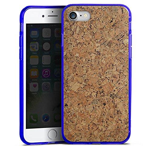 Apple iPhone 8 Silikon Hülle Case Schutzhülle Holz Look Kork Silikon Colour Case blau