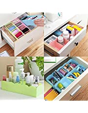 Inditradition Drawer Organizer, Dividers, Closet Storage Box | Multi-Purpose, ABS Plastic, Multi-Color (Pack of 4)
