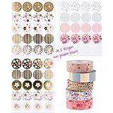 Set–120puede Color Rosa Dorado Pegatinas redondas y 5floralen Masking Tapes (cada uno de 1,5cm x 10m)