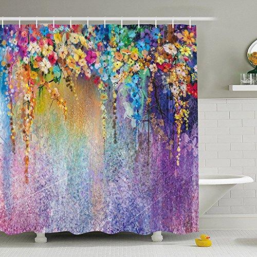 Qcwn acquerello fiore tenda doccia colorata natura paesaggio floreale bagno decor garden scene decorazione con free ganci, poliestere, 1, 70