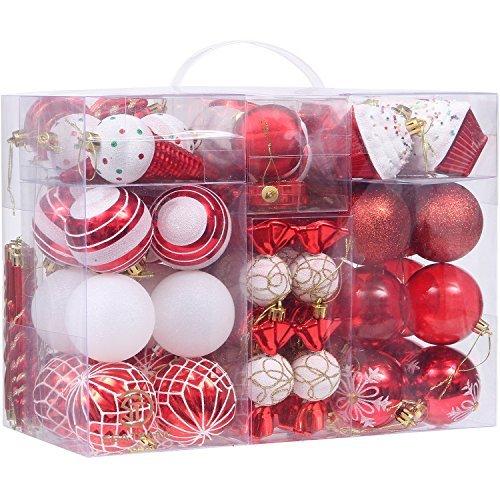 Set von 81 verschiedenen bruchsicheren Weihnachtskugeln mit wiederverwendbarem Geschenk-Paket für Ihren Weihnachtsbaum - von Sea Team  Art Deco rot