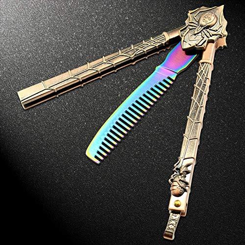 JKFJY FOLD Cs go Buntes Übungsmesser Butterfly Fade Rainbow Trainer Klappmesser Butterfly Knife Dull Tool mit Kamm