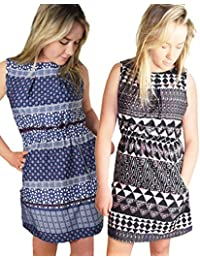 TopsandDresses Ladies 2 Pack UK Size 8-16 Navy White Coral Paisley Mix Short Summer Dresses With Pocket Zip