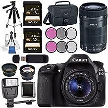 Canon EOS 80D DSLR Camera With 18-55mm Lens + Canon EF-S 55-250mm Lens + 58mm Wide Angle Lens + 58mm 2X Lens + Canon 100ES EOS Shoulder Bag Bundle