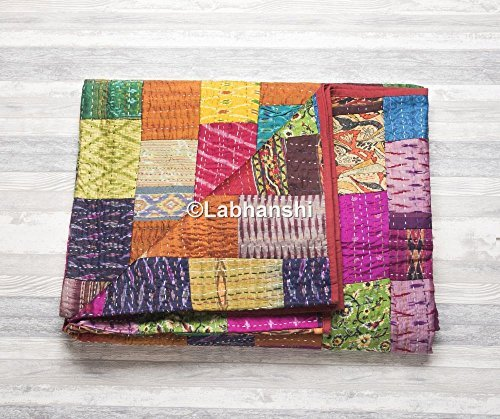 Bedspread Cotton Blanket Vintage Quilt Throw Ralli Gudari Handmade Kantha Quilt Meticulous Dyeing Processes Decorative Quilts & Bedspreads Bedding