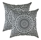 TreeWool®, (2 Stück Dekoratives Kissenbezüg Mandala Design 100% Baumwolle (40 x 40 cm, Graphit)