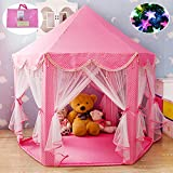 100% Cotton Fabric Extra Thick Pink Hexagon Princess Castle with Beading Decoration Cute Indoor Kids Play Tent Outdoor Girls Playhouse with 23ft LED Star String Lights