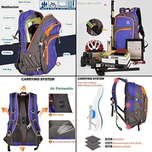 XSY 40L Zaino Unisex per Ciclismo Borsa Sportiva da Trekking Escursione Alpinismo Zaino per Scuola Esercito Verde Esercito Verde
