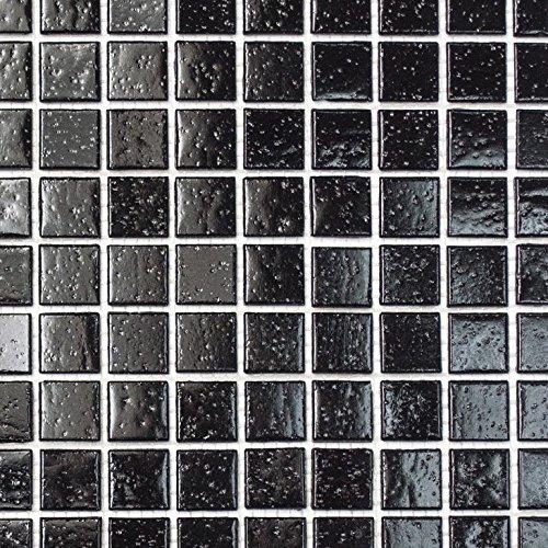 Mosaik Fliese Glas schwarz für BODEN WAND BAD WC DUSCHE KÜCHE FLIESENSPIEGEL THEKENVERKLEIDUNG BADEWANNENVERKLEIDUNG Mosaikmatte Mosaikplatte (Glas-mosaik-boden)