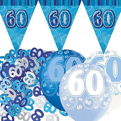 Blue Silver Glitz 60th Birthday Flag Banner Party Decoration Pack Kit Set by Happy Birthday