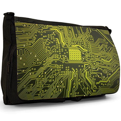Interruttore scheda madre COMPUTER Close Up – Borsa Tracolla Tela Nera Grande Scuola/Borsa Per Laptop Yellow Memory Technology Board