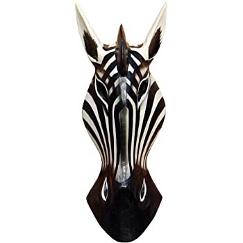 Schöne 30 cm Zebra Holz Maske Afrika Wandmaske Handarbeit Bali Maske71