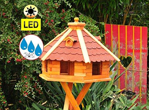 Vogelhaus XXL Premium, ca. 70-75 cm, wetterfest Massivdach, mit Silo,Futtersilo für Winterfütterung,mit Beleuchtung LED-Licht -Holz Nistkästen & Vogelhäuser- aus Holz mit Silo Holz rot ohne Ständer rot BGXL75roOS