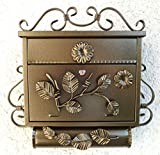 Briefkasten Postkasten Wandbriefkasten mit Zeitungsfach Antik Schmiedeeisen