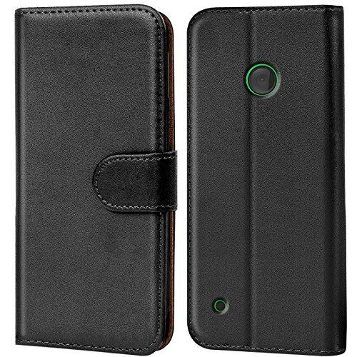 Verco Lumia 530 Hülle, Handyhülle für Nokia Lumia 530 Tasche PU Leder Flip Case Brieftasche - Schwarz