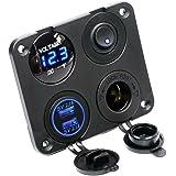 SODIAL 4 Funktionsfeld Dual-USB-Ladegeraet Gruene LED Volt 12-V-Steckdose Ein-aus-Schalter