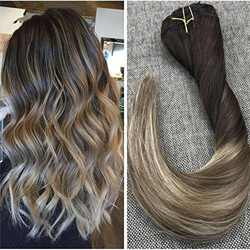 Ugeat 16zoll Balayage Remy Menschliches Haar Clip in Erweiterungen Ombre Dip Dye Farbe # 4 Fading zu # 6 mit Farbe # 613 Blonde Doppel Wefted Clip in Extensions 120 Gramm