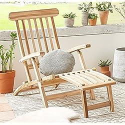 SAM® Tumbona de teca, ajustable, superficie pulida, no ocupa mucho espacio. Ideal para balcones, jardinos, robusta silla de jardín, posición acostada muy cómoda