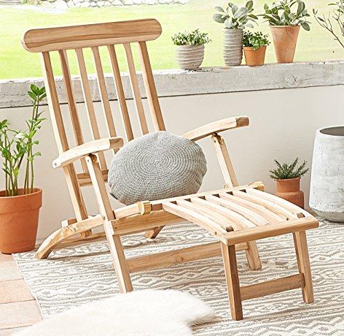 SAM® SAM® Teak Holz Deckchair, Liege-Stuhl, Sonnenliege, verstellbar, geschliffen, platzsparend zu verstauen im Winter, ideal für Balkon und Garten, robuste Gartenliege