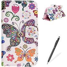 Funda Samsung Galaxy Grand Neo Plus(i9060),MAGQI Cuero PU Flip Billetera Cáscara,Función de Soporte Ranura para Tarjetas Cierre Magnético Anti-rasguños parachoques portátil - Mariposa Multicolor
