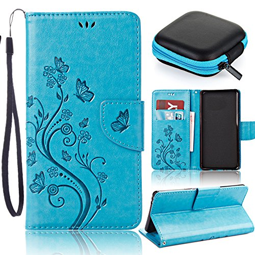 Sony Xperia E5 Leder Brieftasche Hülle Case Flip Cover,Sony Xperia E5 Leather Wallet Case,Pershoo Retro Blau Malen mit Schmetterling Muster PU Leather Case Flip Cover in Book Style Wallet Stand Card Slot Protective Case mit Standfunktion und Karte Halter für Sony Xperia E5 with 1 x Earphone Storage Box-Blau