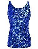 PrettyGuide Damen Shimmer Glam Pailletten verziert Sparkle Trägershirt-Weste Tops Blau XXL