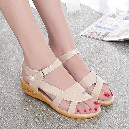 XY&GKWomen's 2 été Télévision Women's Sandals Chaussures Antidérapage pour les femmes enceintes. 35 meters white