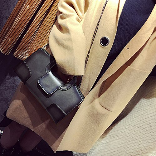 AiSi Damen Leder Retro Handtasche kleine Abendtasche Clutch Party-bags elegante Umhängetasche vintage europäischer Stil mit Umhängegurt Reißverschluss Grau Grau